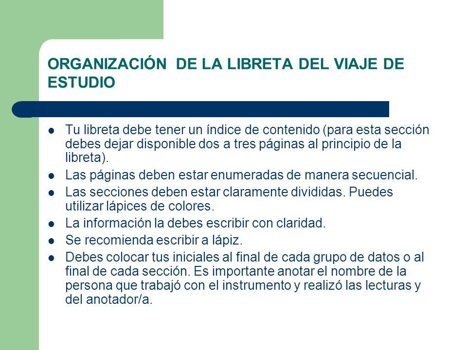 ORGANIZACIÓN DE LA LIBRETA DEL VIAJE DE ESTUDIO