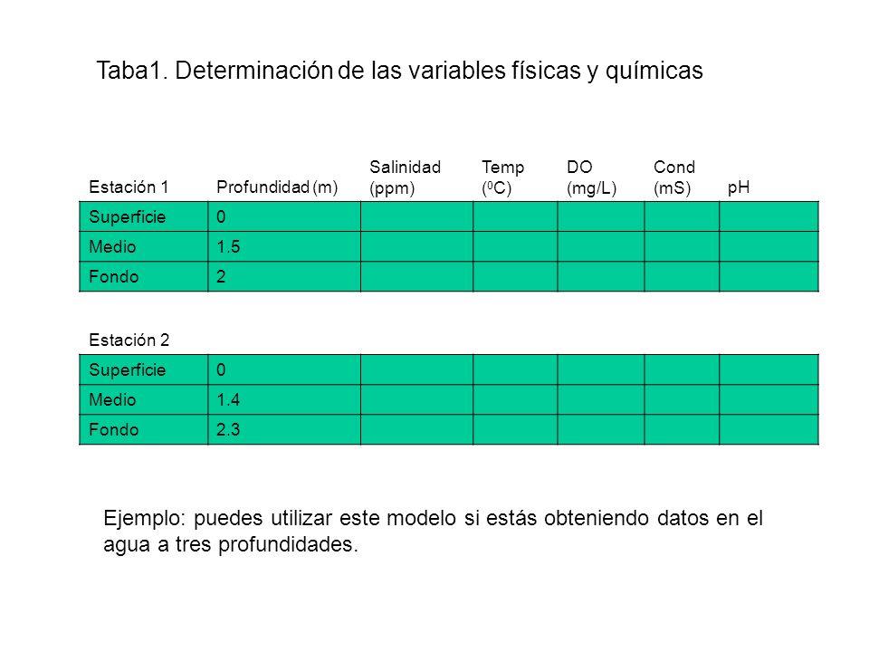 Taba1. Determinación de las variables físicas y químicas