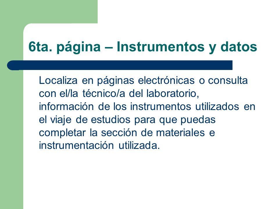 6ta. página – Instrumentos y datos