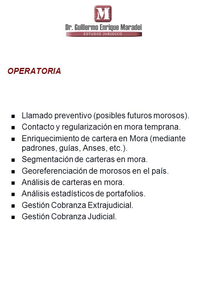 OPERATORIA Llamado preventivo (posibles futuros morosos). Contacto y regularización en mora temprana.