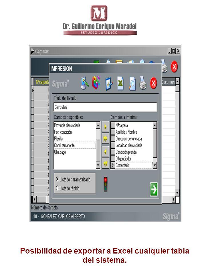 Posibilidad de exportar a Excel cualquier tabla del sistema.