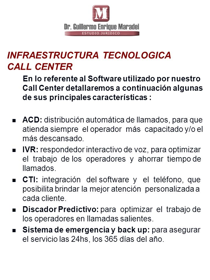 INFRAESTRUCTURA TECNOLOGICA CALL CENTER