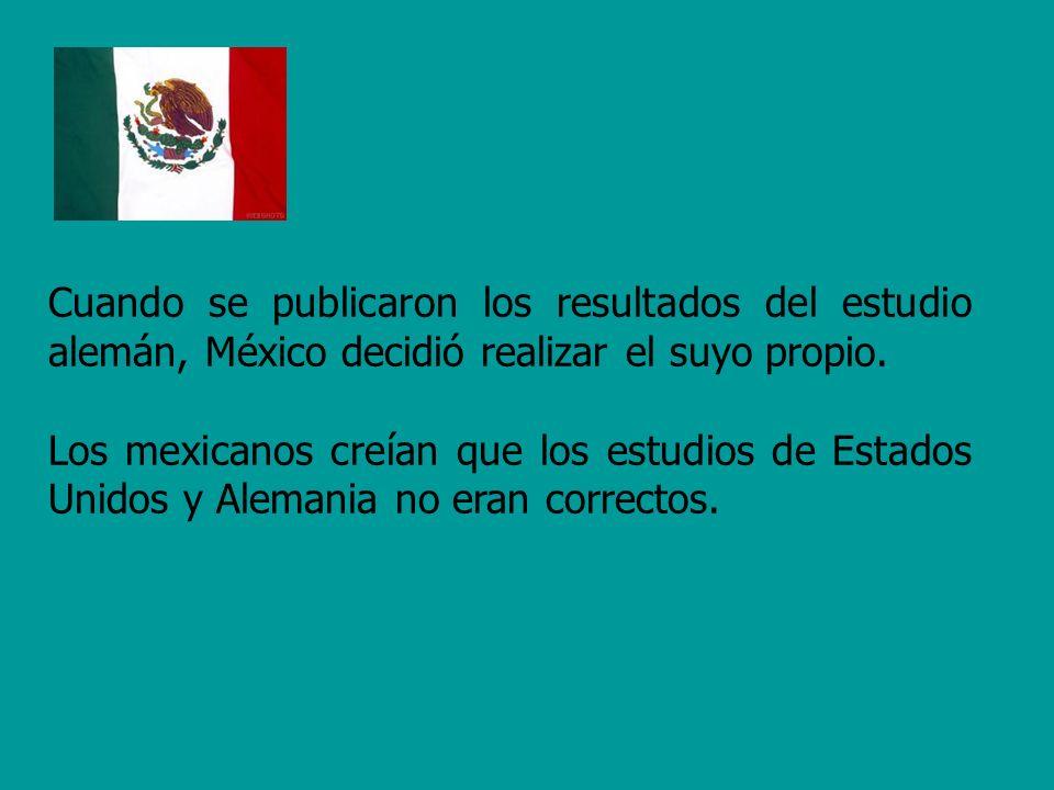 Cuando se publicaron los resultados del estudio alemán, México decidió realizar el suyo propio.