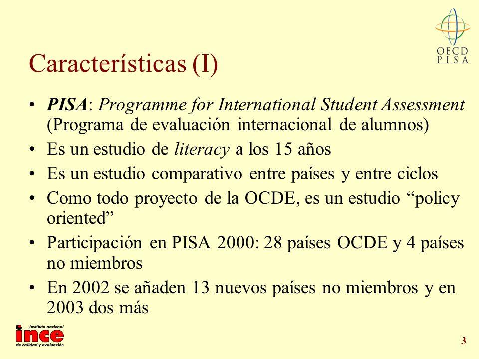 Características (I) PISA: Programme for International Student Assessment (Programa de evaluación internacional de alumnos)