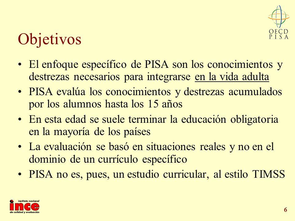 Objetivos El enfoque específico de PISA son los conocimientos y destrezas necesarios para integrarse en la vida adulta.