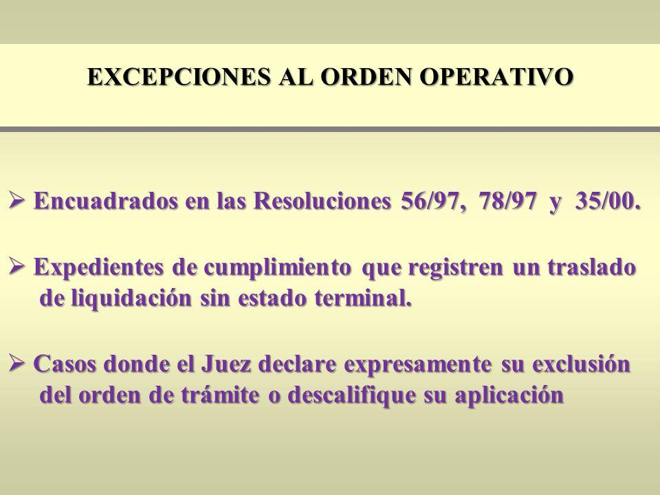 Excepciones al orden operativo
