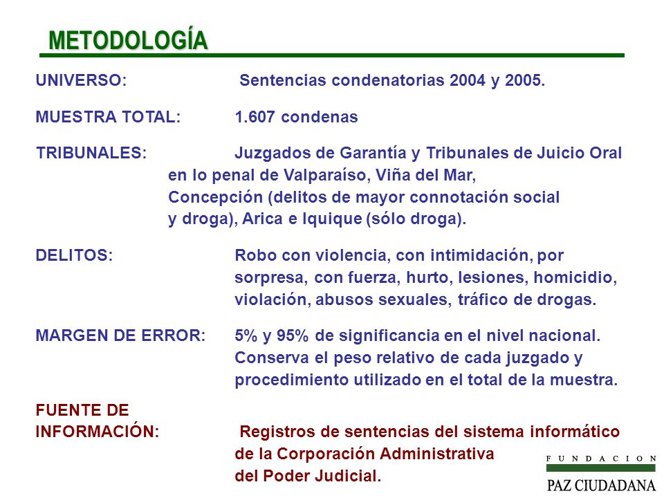METODOLOGÍA UNIVERSO: Sentencias condenatorias 2004 y 2005.