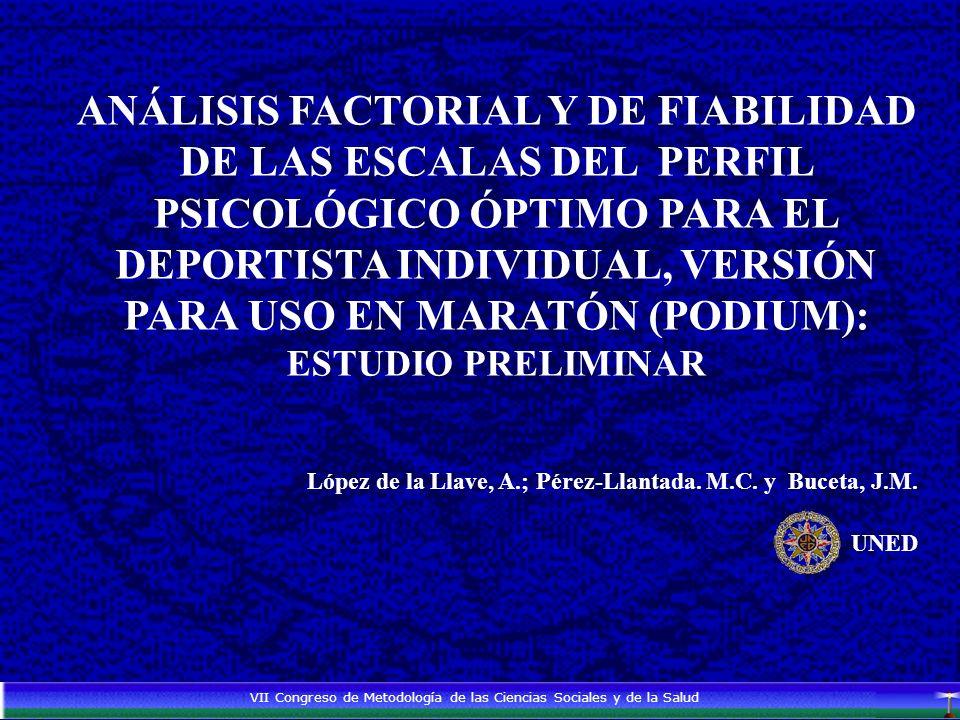 ANÁLISIS FACTORIAL Y DE FIABILIDAD DE LAS ESCALAS DEL PERFIL PSICOLÓGICO ÓPTIMO PARA EL DEPORTISTA INDIVIDUAL, VERSIÓN PARA USO EN MARATÓN (PODIUM): ESTUDIO PRELIMINAR