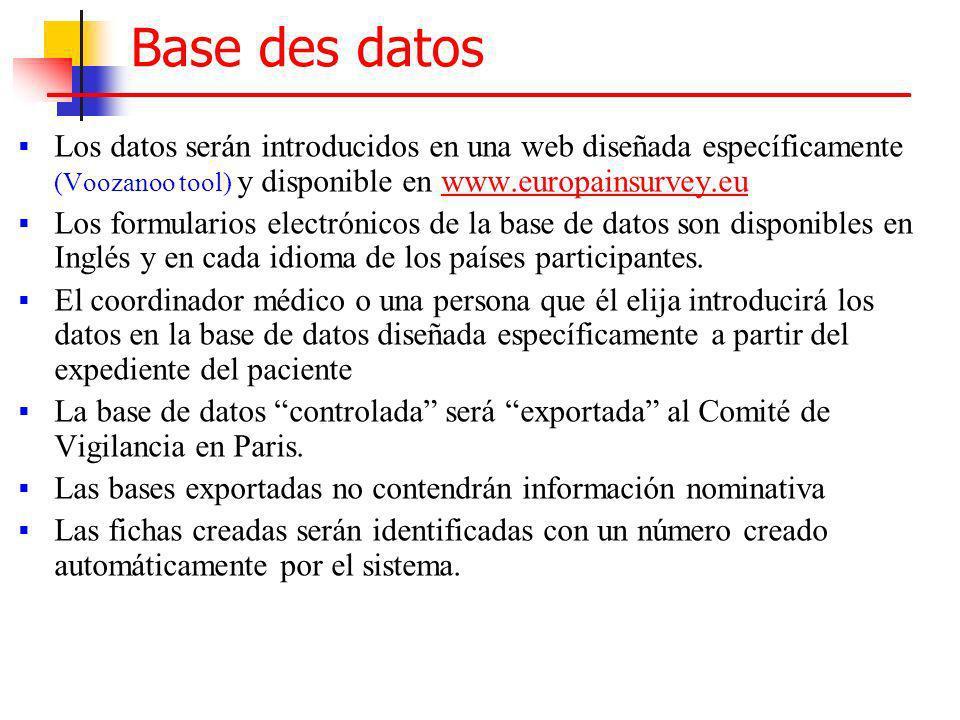 Base des datos Los datos serán introducidos en una web diseñada específicamente (Voozanoo tool) y disponible en www.europainsurvey.eu.