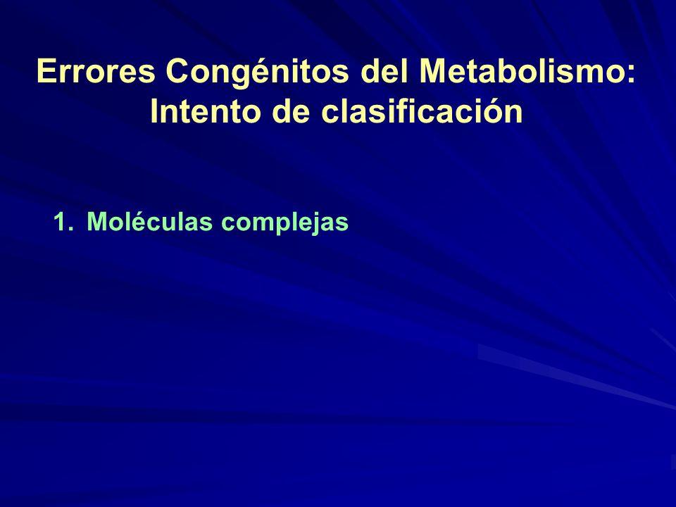 Errores Congénitos del Metabolismo: Intento de clasificación