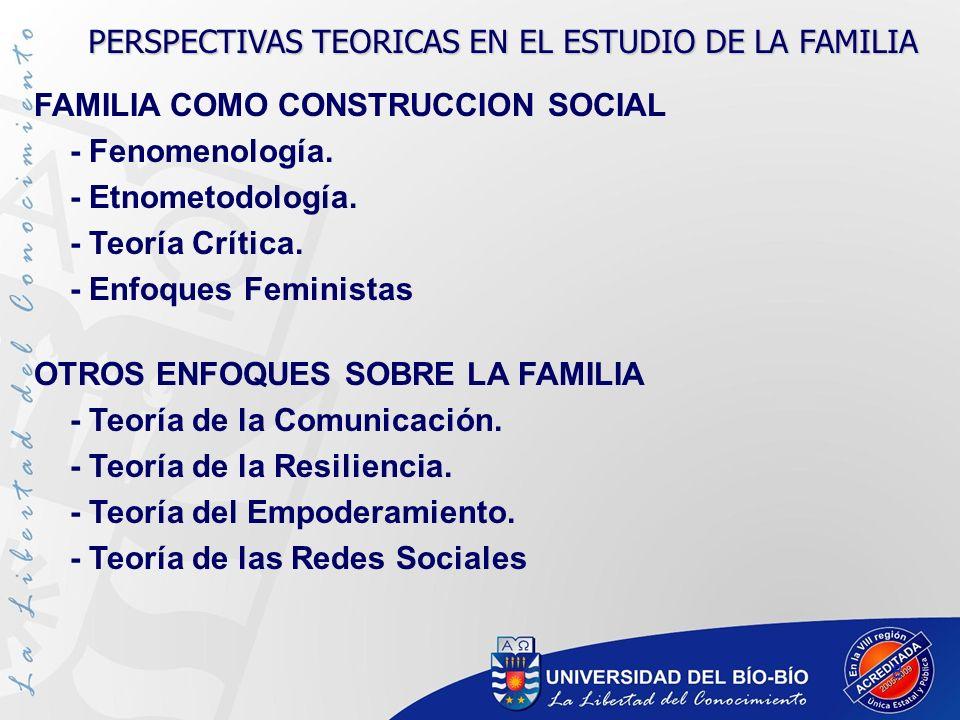 PERSPECTIVAS TEORICAS EN EL ESTUDIO DE LA FAMILIA