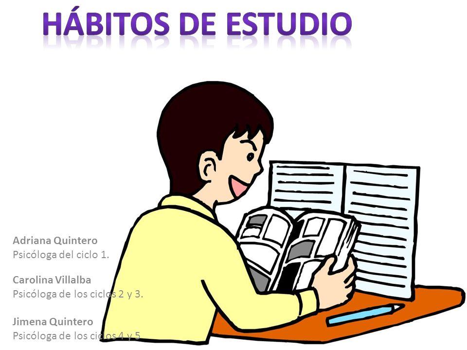 HÁBITOS DE ESTUDIO Adriana Quintero Psicóloga del ciclo 1.