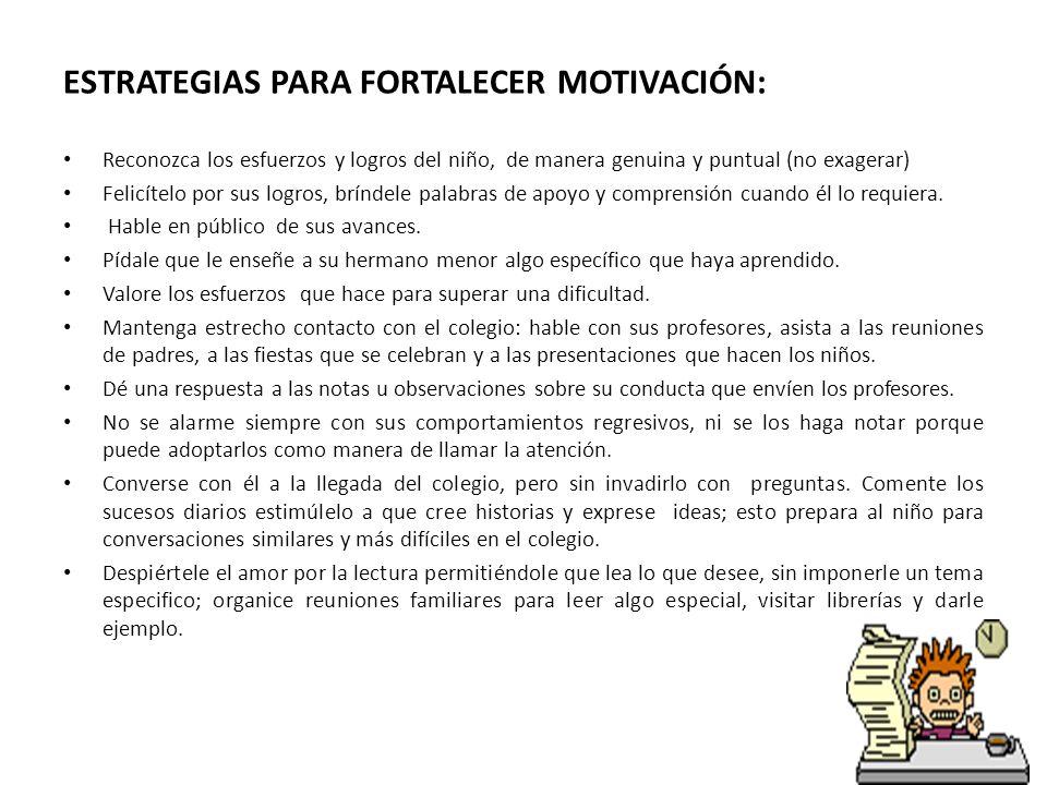 ESTRATEGIAS PARA FORTALECER MOTIVACIÓN: