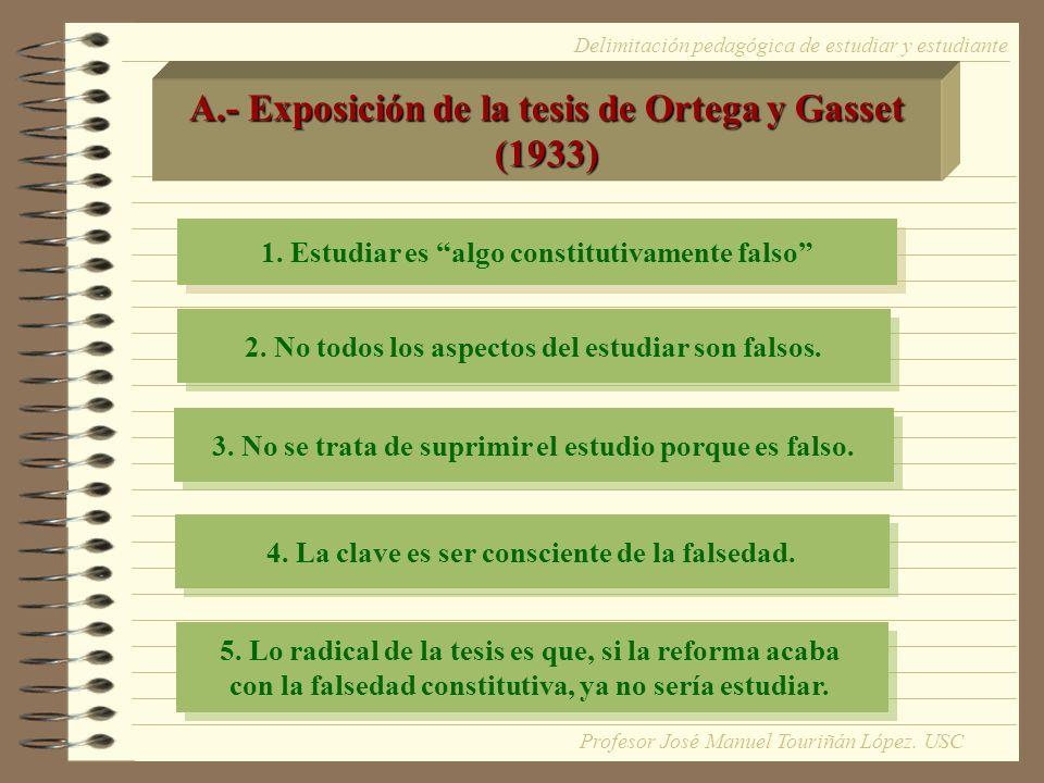 A.- Exposición de la tesis de Ortega y Gasset (1933)