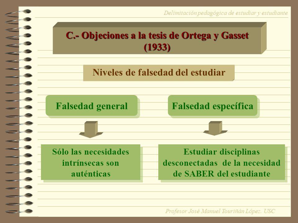 C.- Objeciones a la tesis de Ortega y Gasset (1933)