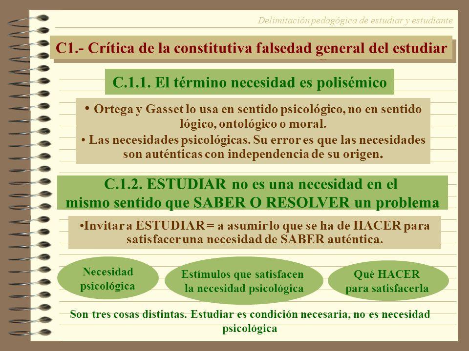 C1.- Crítica de la constitutiva falsedad general del estudiar
