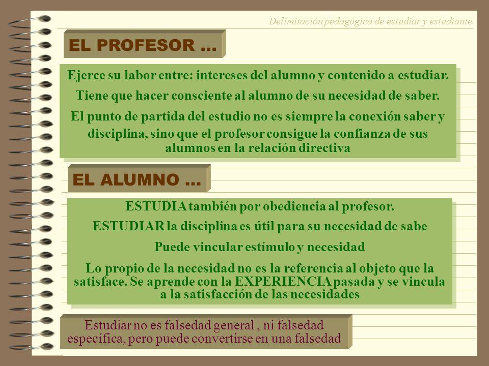 Delimitación pedagógica de estudiar y estudiante