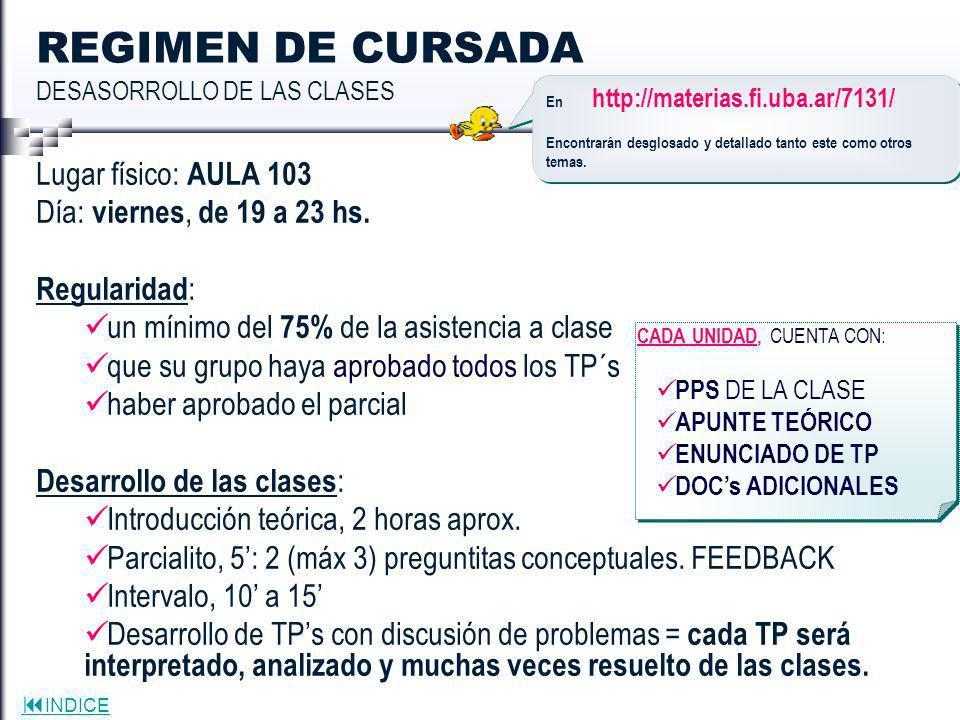 REGIMEN DE CURSADA DESASORROLLO DE LAS CLASES