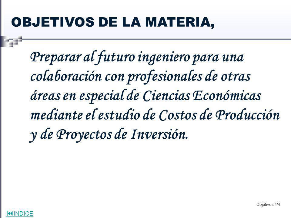 OBJETIVOS DE LA MATERIA,
