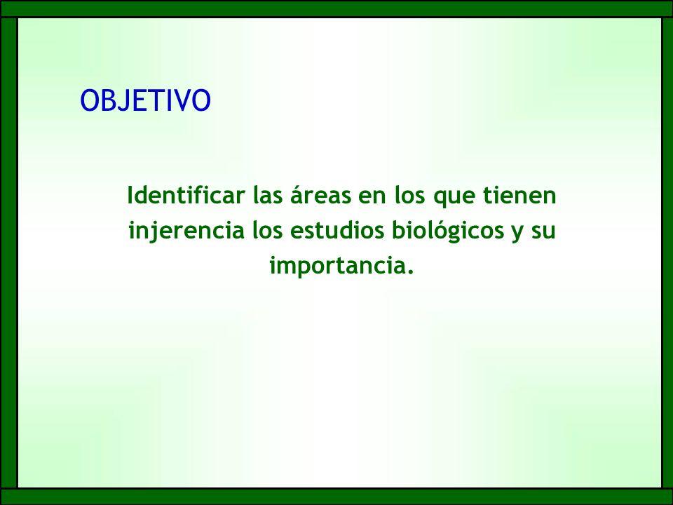 OBJETIVO Identificar las áreas en los que tienen injerencia los estudios biológicos y su importancia.