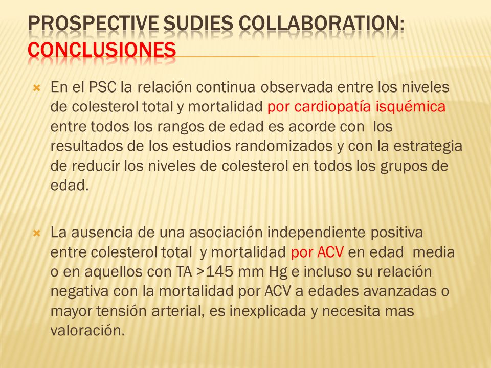 Prospective Sudies Collaboration: Conclusiones