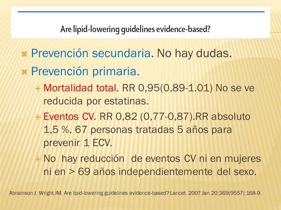 Prevención secundaria. No hay dudas. Prevención primaria.