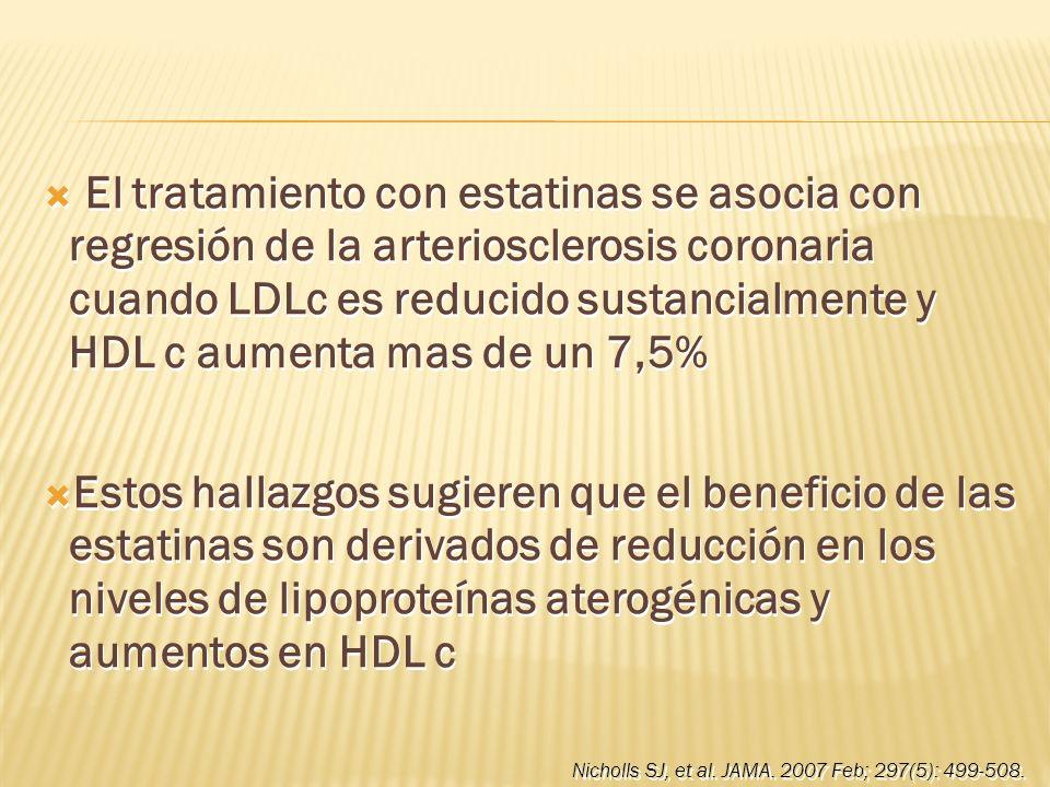 El tratamiento con estatinas se asocia con regresión de la arteriosclerosis coronaria cuando LDLc es reducido sustancialmente y HDL c aumenta mas de un 7,5%