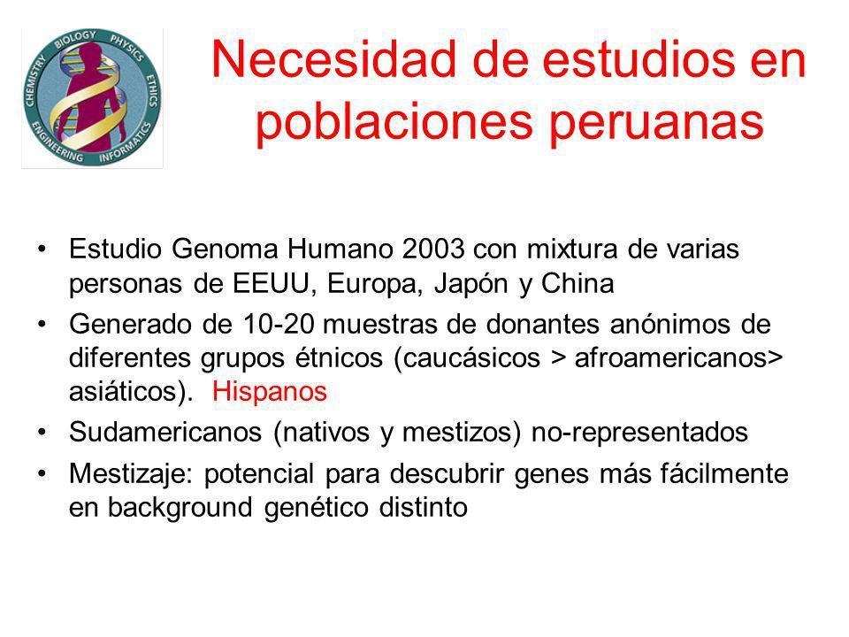 Necesidad de estudios en poblaciones peruanas