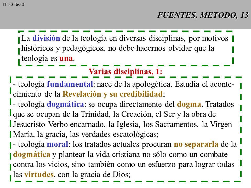 La división de la teología en diversas disciplinas, por motivos