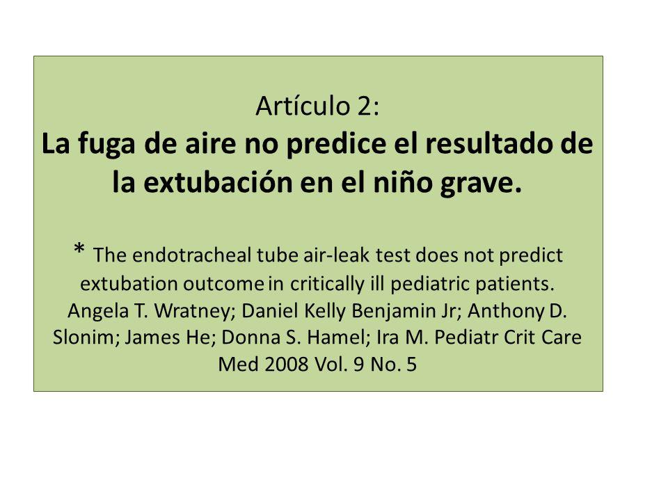 Artículo 2: La fuga de aire no predice el resultado de la extubación en el niño grave.