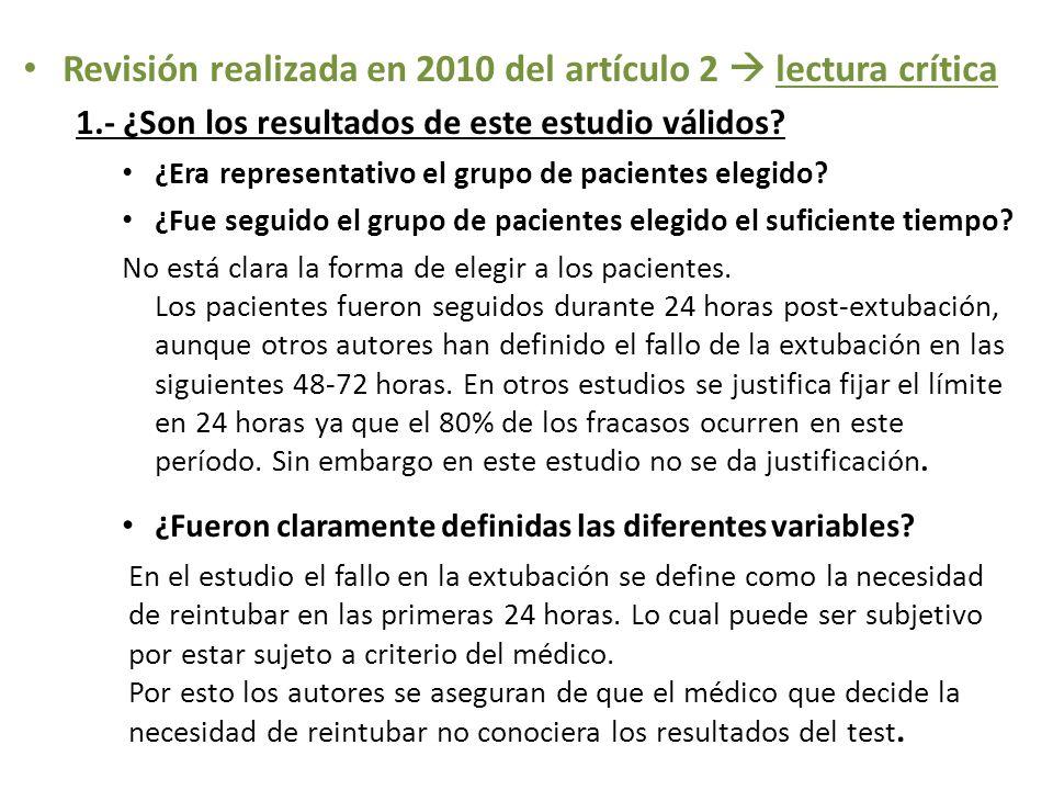 Revisión realizada en 2010 del artículo 2  lectura crítica