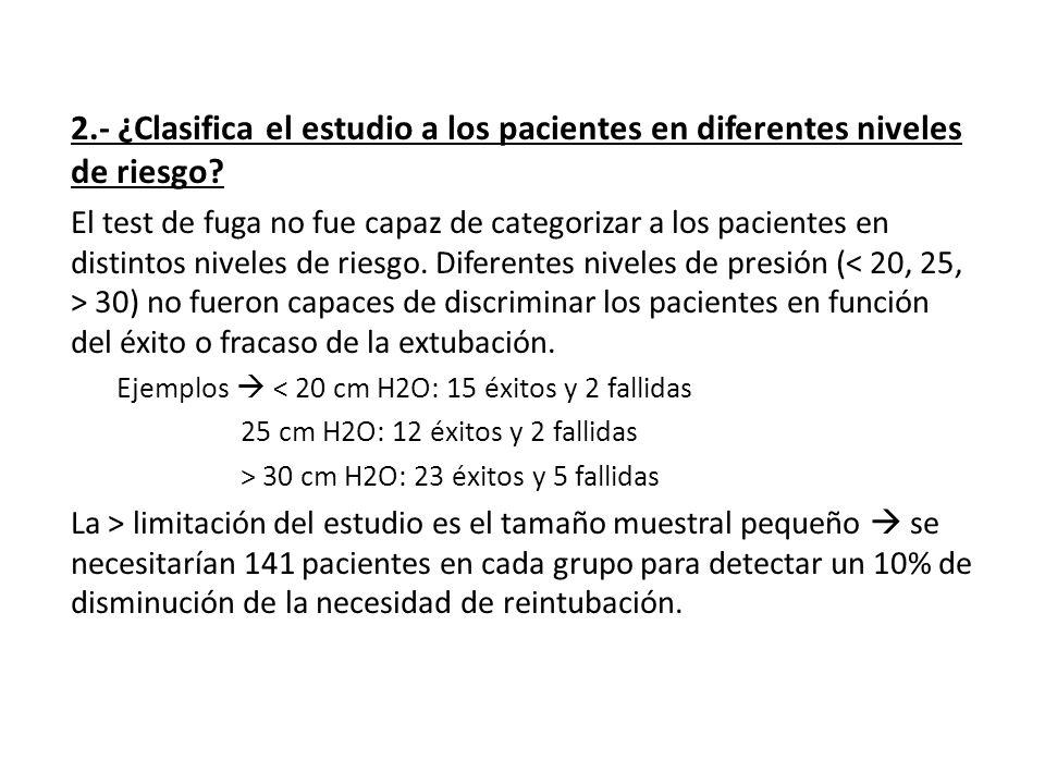 2.- ¿Clasifica el estudio a los pacientes en diferentes niveles de riesgo