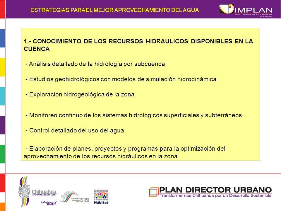 1.- CONOCIMIENTO DE LOS RECURSOS HIDRAULICOS DISPONIBLES EN LA CUENCA