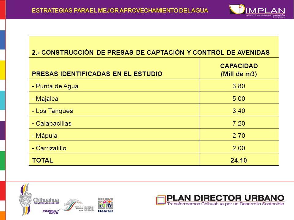 2.- CONSTRUCCIÓN DE PRESAS DE CAPTACIÓN Y CONTROL DE AVENIDAS