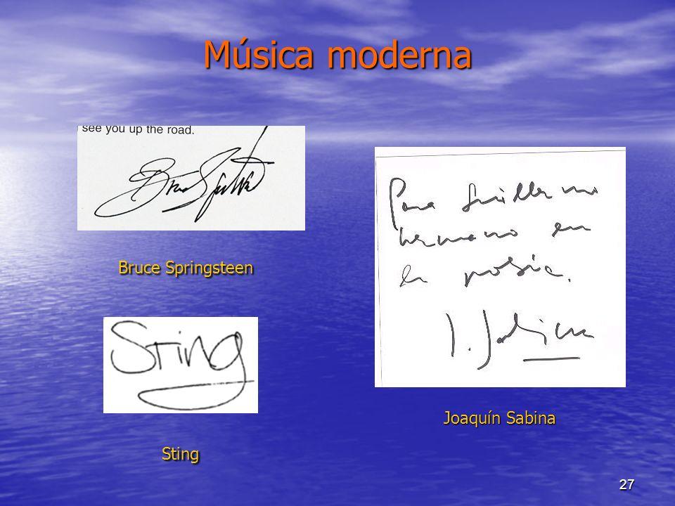 Música moderna Bruce Springsteen Joaquín Sabina Sting