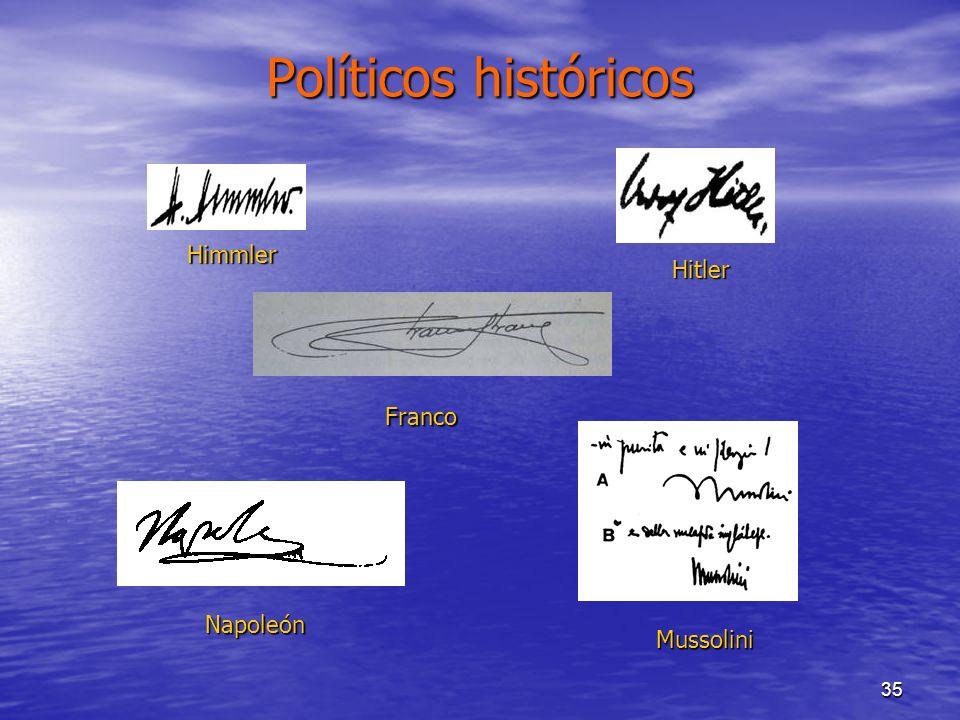 Políticos históricos Himmler Hitler Franco Napoleón Mussolini