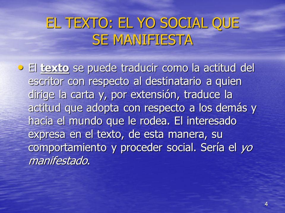 EL TEXTO: EL YO SOCIAL QUE SE MANIFIESTA