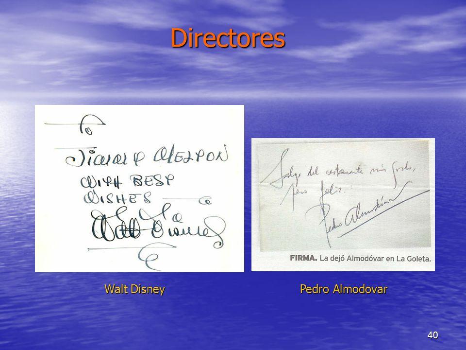 Directores Miguel de Unamuno Walt Disney Pedro Almodovar