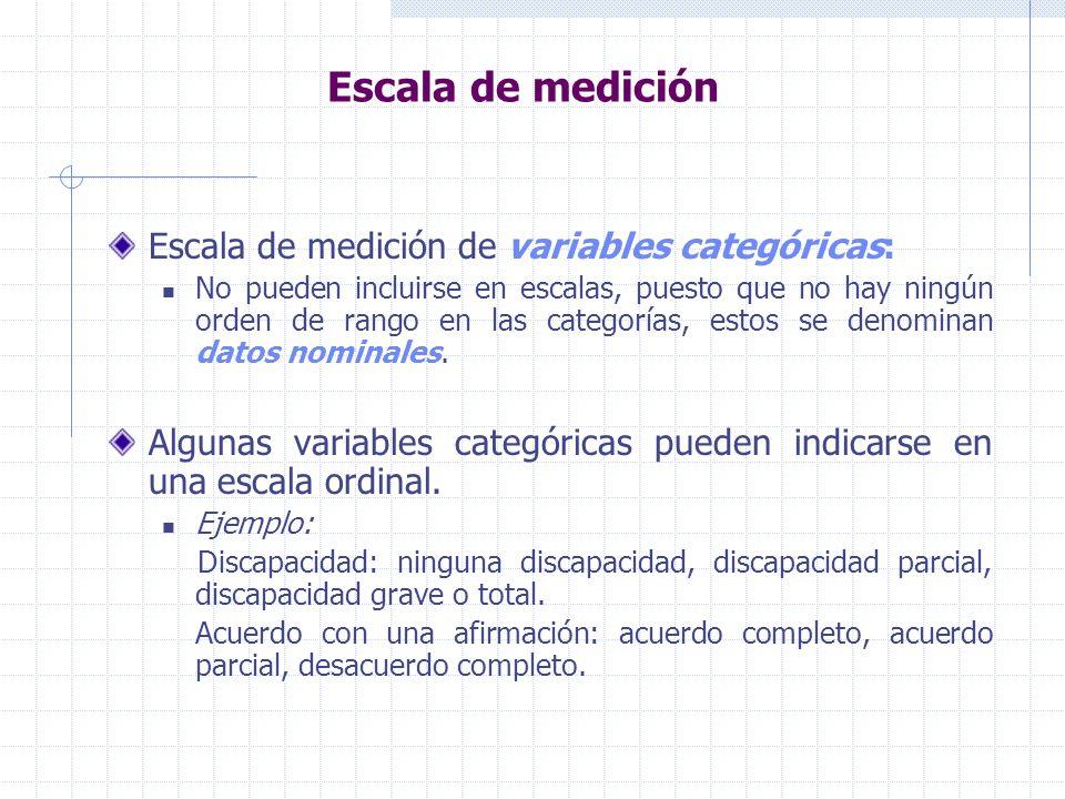 Escala de medición Escala de medición de variables categóricas: