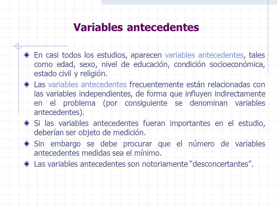 Variables antecedentes
