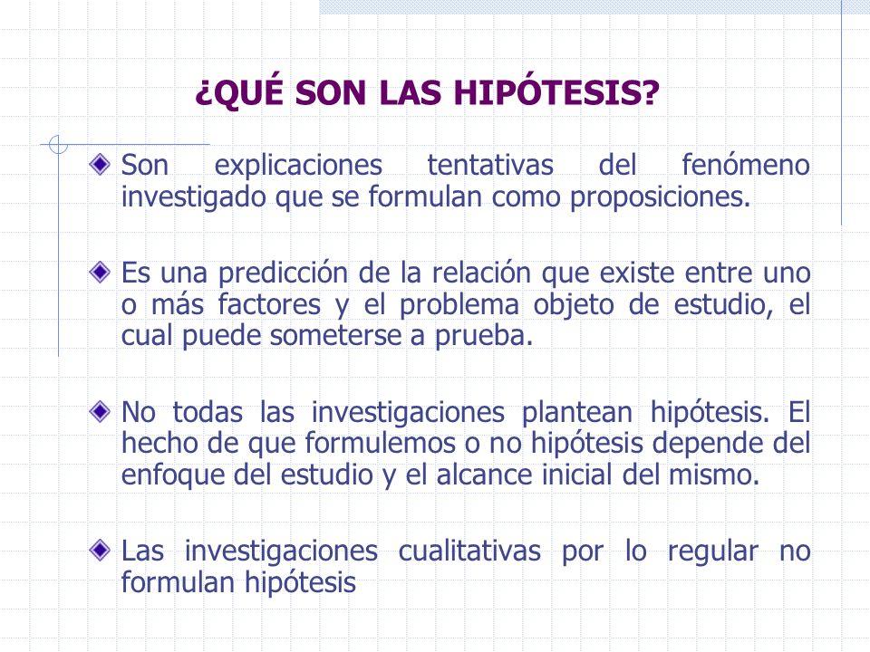 ¿QUÉ SON LAS HIPÓTESIS Son explicaciones tentativas del fenómeno investigado que se formulan como proposiciones.
