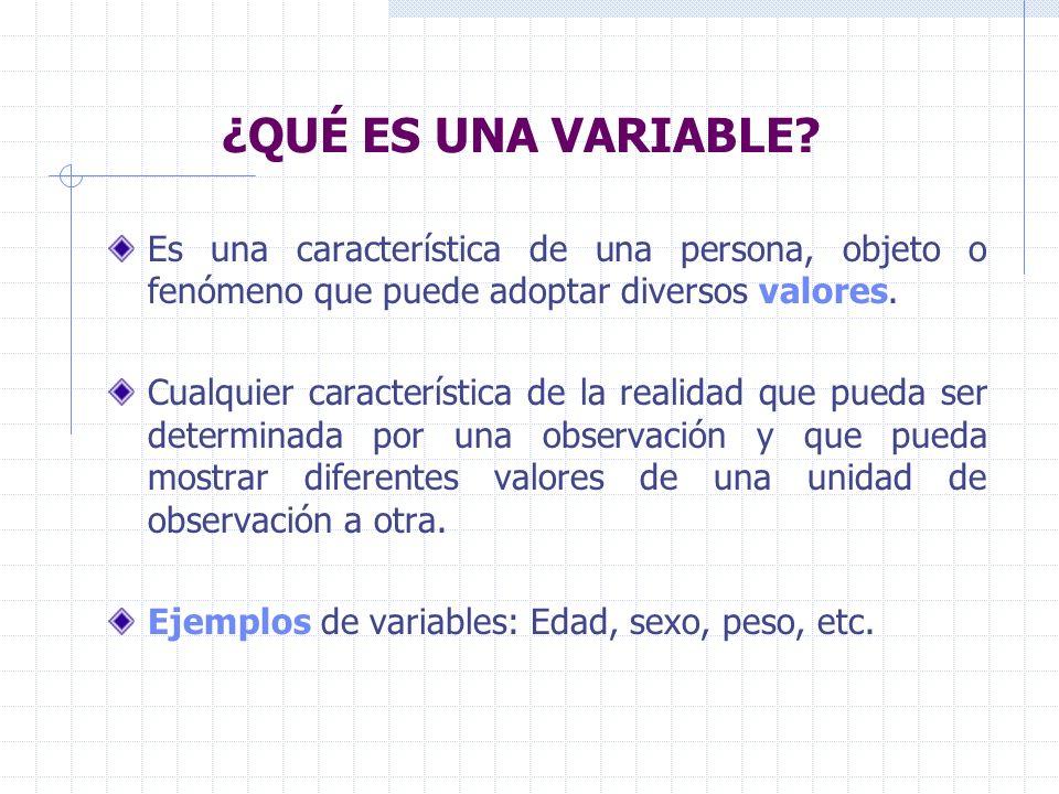 ¿QUÉ ES UNA VARIABLE Es una característica de una persona, objeto o fenómeno que puede adoptar diversos valores.
