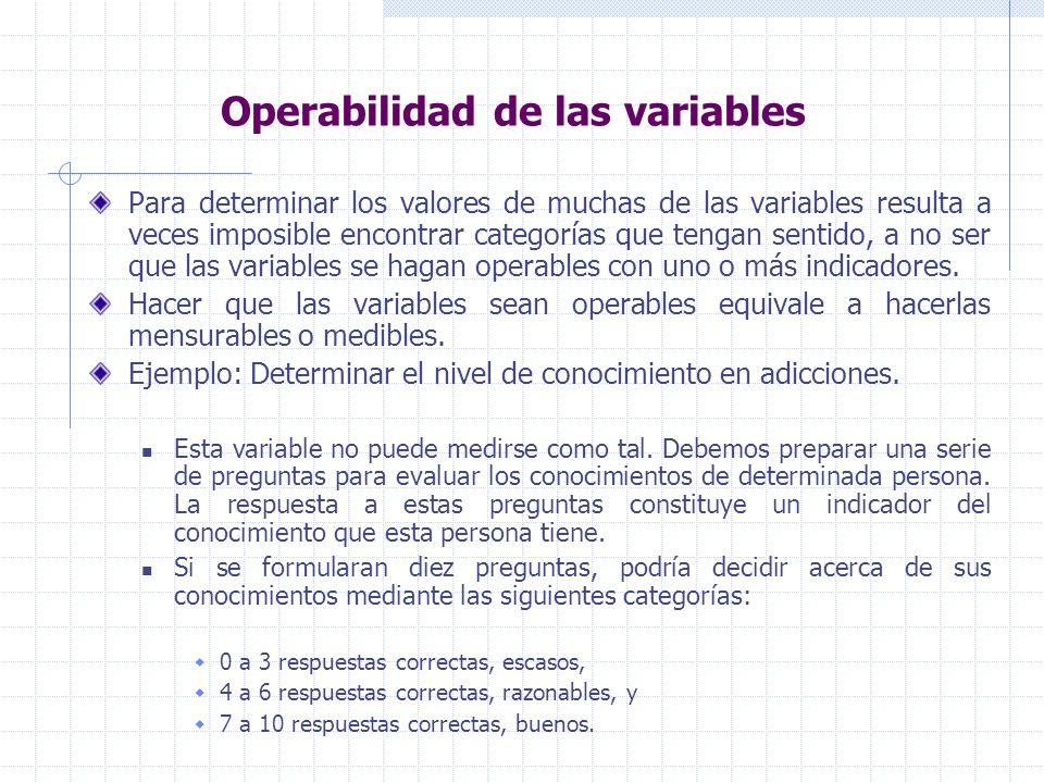 Operabilidad de las variables