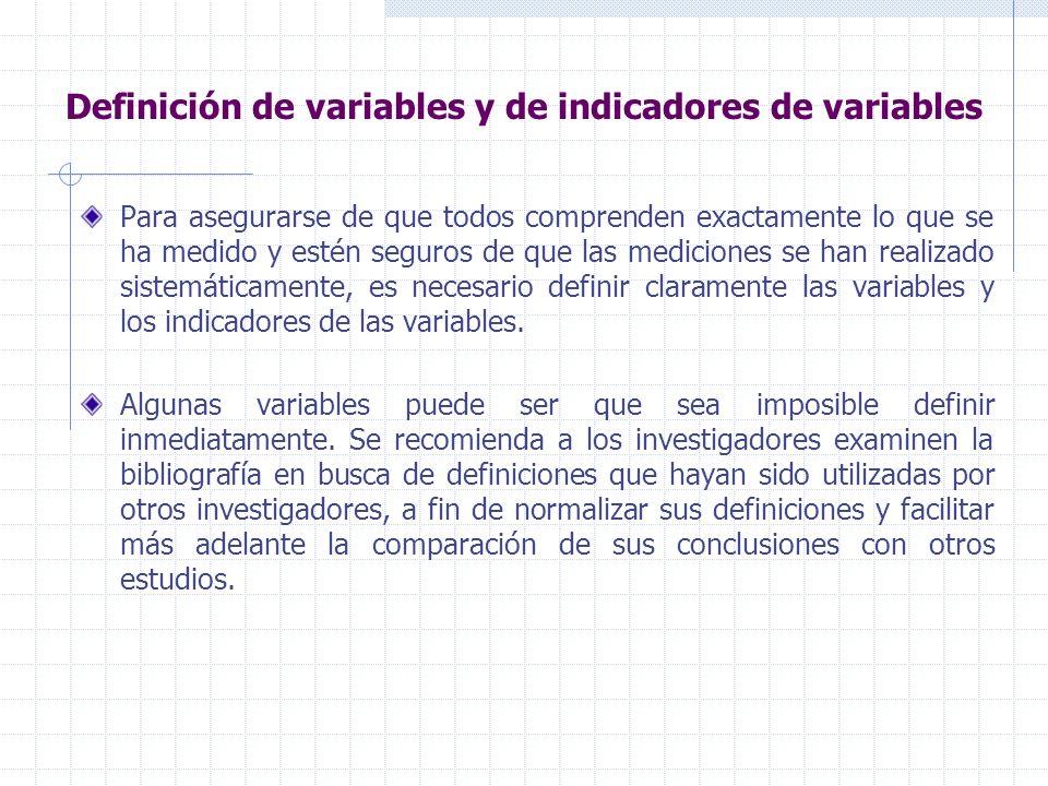 Definición de variables y de indicadores de variables