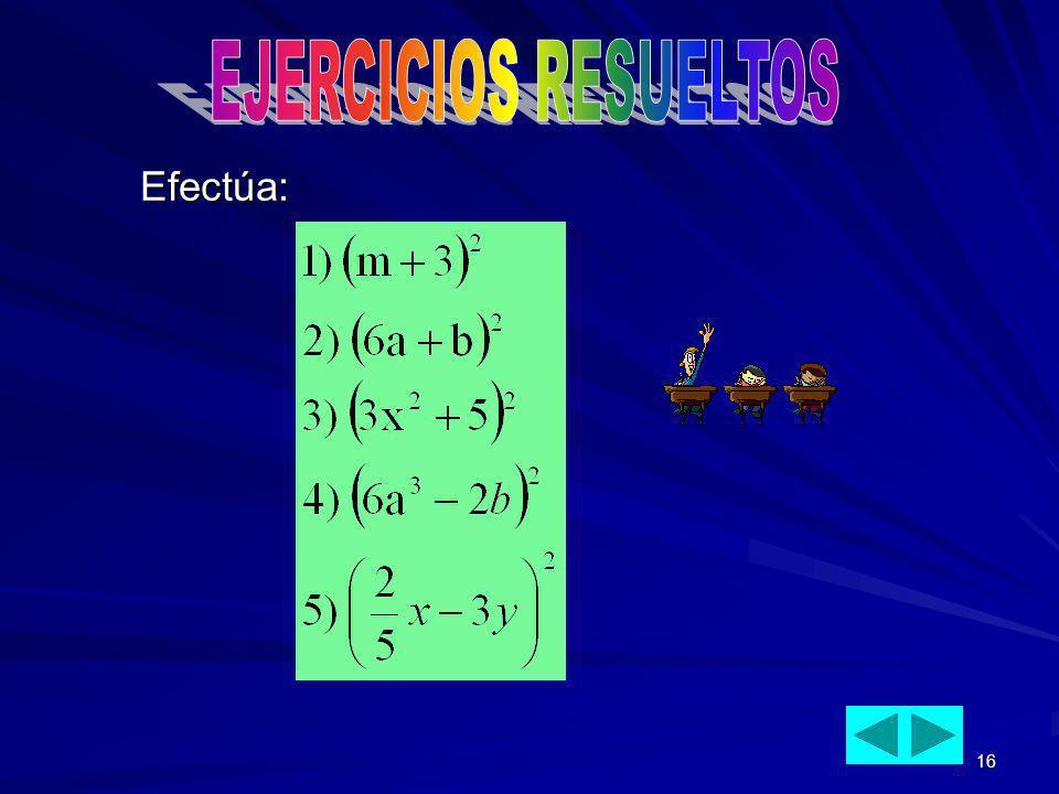 EJERCICIOS RESUELTOS Efectúa: