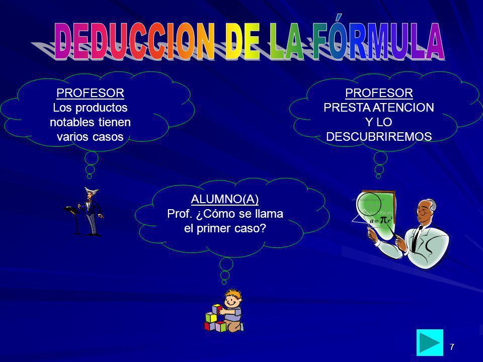 DEDUCCION DE LA FÓRMULA