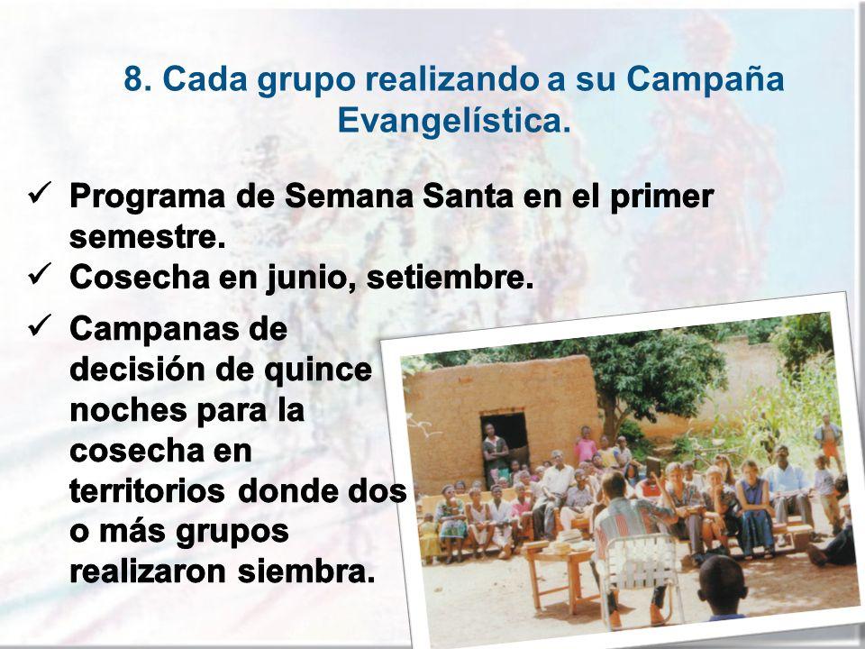 8. Cada grupo realizando a su Campaña Evangelística.