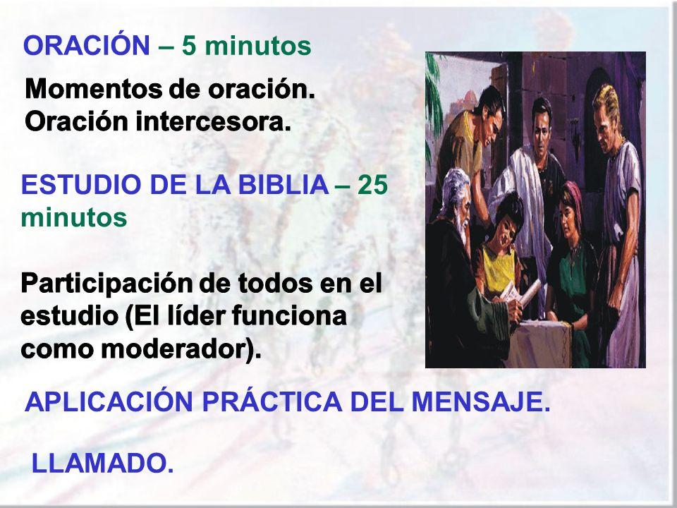 ORACIÓN – 5 minutos Momentos de oración. Oración intercesora. ESTUDIO DE LA BIBLIA – 25 minutos.