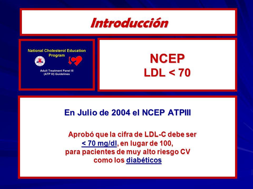 Introducción NCEP LDL < 70 Aprobó que la cifra de LDL-C debe ser
