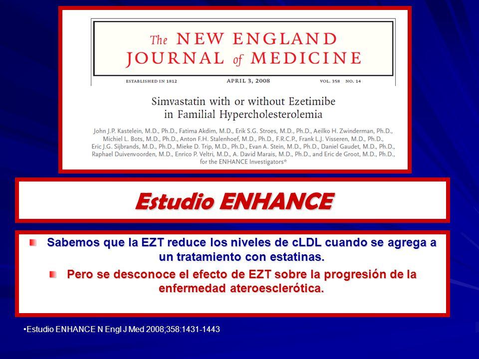 Estudio ENHANCE Sabemos que la EZT reduce los niveles de cLDL cuando se agrega a un tratamiento con estatinas.